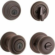 Keyed Entry Knob And Single Cylinder Deadbolt Combo Pack Featuring Smart Key New