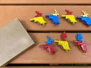 Seven Vintage Renwal Plastic Toy Pistol Gun Whistles - Cowboys And Indian Chiefs
