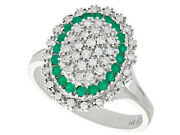 Vintage 0.72ct Diamond And 0.31ct Emerald 18ct White Gold Dress Ring