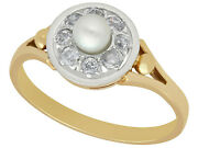 Pearl And 0.36ct Diamond 14ct Yellow Gold Dress Ring - Antique Circa 1920