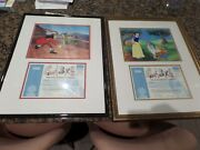 Two Sericel Serigraph Cell Cel Disney Snow White And Peter Pan Signed Marc Davis