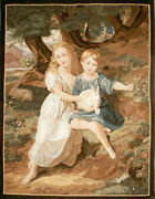 Aubusson Tapestry Hand-woven French Gobelins Weave Wool Wall Hanging Rug 42x55