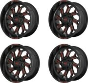 Set 4 22 Moto Metal Mo999 22x12 Black Milled Red Tint 8x170 Truck Wheels -44mm