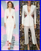 S/s 2015 Look 36 Versace Crystal Embellished White Pant Suit 38 - 2