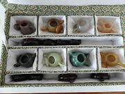 Set Of Eight Vintage Carved Semi-precious Stone Miniature Tea Pots
