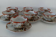 7 Japanese Octagonal Kutani Cups With Saucers Early 20th Century