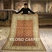 Yilong 5and039x8and039 Red All Over Handmade Silk Area Rug Porch Hand Knotted Carpet 012b