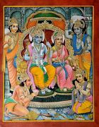 Ancient Ram Darbar Religious Fine Detailed Handmade Miniature Painting