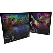 Lot Of 2 Mb Puzzle 500 Piece Jigsaw Foil - Fantasy Panorama - 24x18