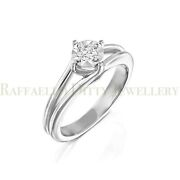 Diamond Solitaire Engagement Ring In 14k Heavy Yellow And White Gold Split Shank