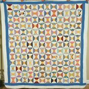 Eye Catching Vintage 30's Bow Tie / Spool Antique Quilt Nice Cheddar Accents