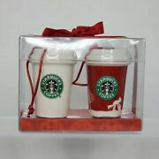 New Starbucks 2006 Christmas Holiday Ornament Set Of 2 Ceramic To Go Cups