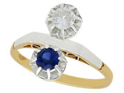 Vintage 0.33ct Sapphire And 0.28ct Diamond 18ct Yellow Gold Dress Ring