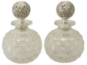 Pair Of Cut Glass Sterling Silver Scent Bottles - Antique Victorian