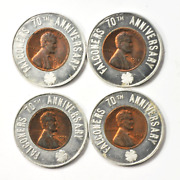Lot Of 4 Falconeerand039s 70th Anniversary Furniture Encased 1958 D 1c Wheat Cents