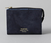 Porter Double Folding Wallet Navy Leather Material Mens New