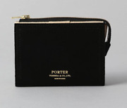 Porter Double Folding Wallet Black Leather Material Mens New