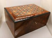 Big Wooden Jewelry Box Inlaid With Mother-of-pearl,large Decorative Lock Box