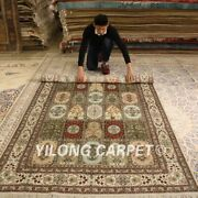 Yilong 5and039x8and039 Antique Handmade Silk Rugs Garden Scene Hand Knotted Carpets 169ab
