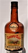 Hallers County Fair Straight Bourbon Whiskey Paper Label Empty Bottle 1958