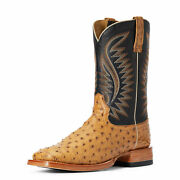 Ariat 10034082 Men Full Quill Ostrich Tan Gallup Two Tone Leather Western Boot