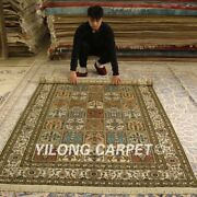 Yilong 5and039x8and039 Exquisite Handmade Silk Rugs Garden Scene Hand Knotted Carpet 173ab