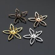 20pcs 20x20mm Copper Hollow Jewelry Flower Base Connector Women Hair Accessories
