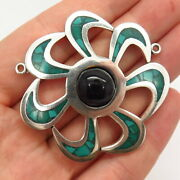 925 Sterling Vintage Mexico Black Onyx Turquoise Gem Inlay Necklace Central Part