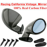 2 X Real Carbon Fiber California Style Vintage Racing Car Side Wing Mirrors L R