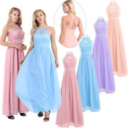 Women Wedding Bridesmaid Evening Party Cocktail Prom Gown Lace Floral Long Dress