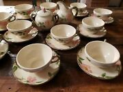 Early 25 Pc Lot Usa Franciscan Desert Rose Teacups And Saucers Creamer Sugar Bowl