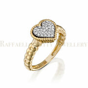 Diamond Heart Ring In 14 Heavy Gold Knitted 31 Diamonds Micro Pave Settings 3.1g
