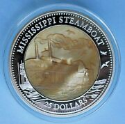 2015 Mississippi Steamboat Silver Proof Coin Mother Of Pearl 5oz W/box Le /750