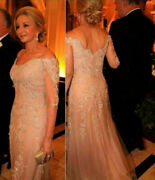 Champagne Mother Of The Bride Dresses Lace Beaded Long Formal Evening Gowns New