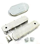 Bbc Chevy Polished Aluminum Finned Valve Covers + Breather Pcv And 15 Air Cleaner