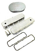 Bbc Chevy Polished Aluminum Finned Valve Covers + Gaskets And 12 Oval Air Cleaner