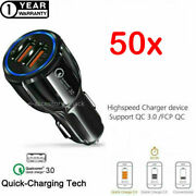 50x 2 Port Usb Fast Car Charger 3.0 Dual Usb For Samsung Iphone Android Phone