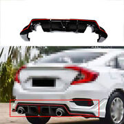 Rear Skid Plate Bumper Board Abs Guard Fit For Honda Civic 2016-2020 Red+black