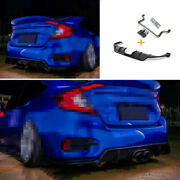 Rear Bumper Canards Splitter 2-outlet Pipe Fit For Honda Civic 2016-2020 Matte