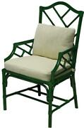 Arm Chair Scarborough House Jade Green Malacca Rattan Upholstered Denman S