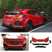 For Honda Civic Type-r 2016-2019 2020 Rear Skid Plate Bumper Board Guard Abs Red