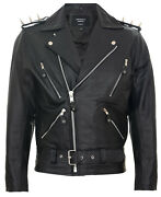 Menand039s Stylish Brando Casual Black And039and039ghostriderand039and039 Spiked Leather Biker Jacket