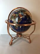 Gemstone Mother Of Pearl Brass Base With Compass World Globe