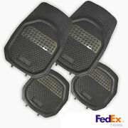 Full Set Floor Mats Black With Metal Style Liner Protector Easy Clean Universal