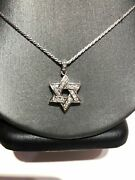 Unique One-of-a-kind 14k White Gold Diamond Pendant Necklace Star Of David