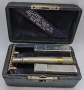 Very Unusual Vintage Gillette British Single Ring With Double Ring Case