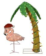 Lighted Led Palm Tree And Flamingo With Santa Hat Outdoor Christmas Decor