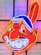 Cleveland Indians Chief Wahoo 24x20 Neon Light Sign Hd Vivid With Dimmer