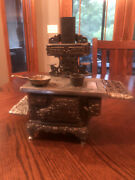 Antique Royal American 1990's Cast Nickel Display Toy Stove With Pan