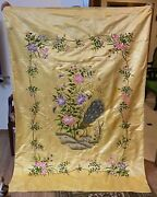 Antique Chinese Silk Qing Dynasty Hand Embroidery Panel Wall Hanging 53 X 74